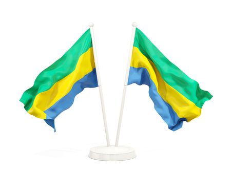 Two waving flags of gabon isolated on white. 3D illustration Stock Photo