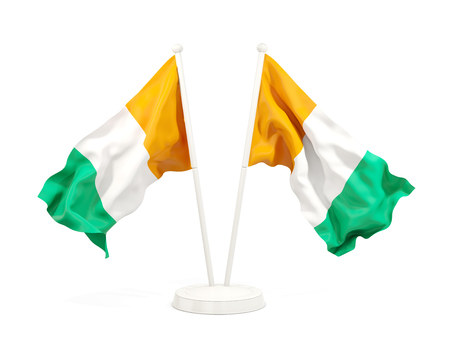 Two waving flags of cote d Ivoire isolated on white. 3D illustration