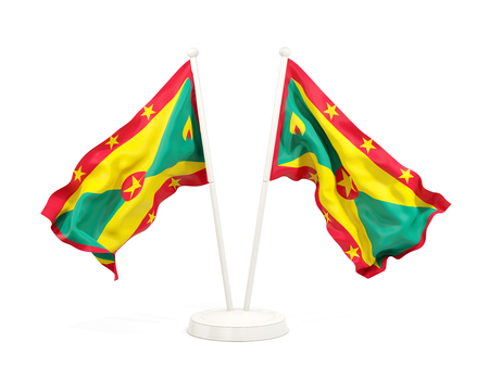 Two waving flags of grenada isolated on white. 3D illustration