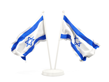 Two waving flags of israel isolated on white. 3D illustration