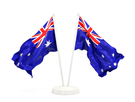 Two waving flags of australia isolated on white. 3D illustration Stock Photo