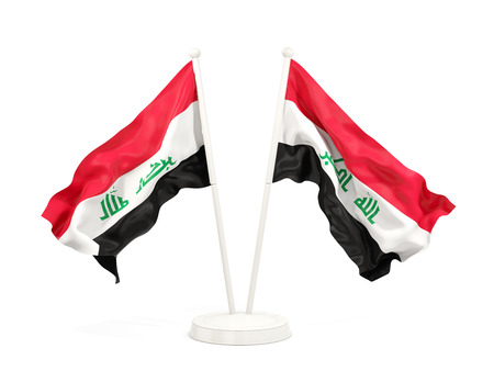 Two waving flags of iraq isolated on white. 3D illustration