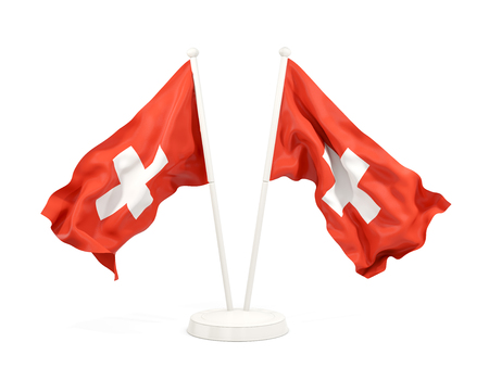 Two waving flags of switzerland isolated on white. 3D illustration Stock Photo