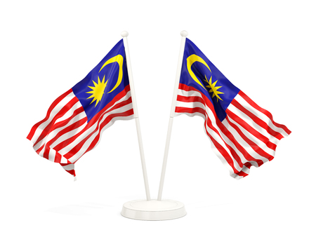 Two waving flags of malaysia isolated on white. 3D illustration Stock Photo