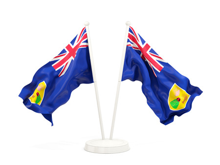 Two waving flags of turks and caicos islands isolated on white. 3D illustration Banco de Imagens