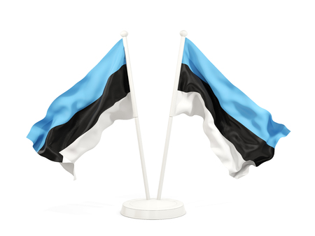 Two waving flags of estonia isolated on white. 3D illustration