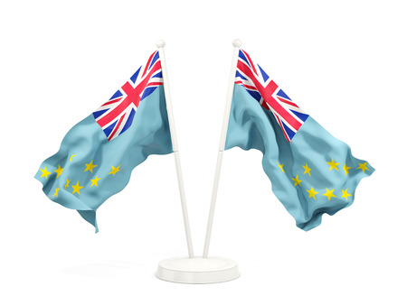 Two waving flags of tuvalu isolated on white. 3D illustration