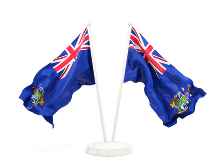 Two waving flags of south georgia and the south sandwich islands isolated on white. 3D illustration Stock Photo