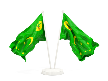 Two waving flags of cocos islands isolated on white. 3D illustration