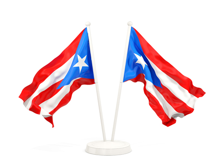 Two waving flags of puerto rico isolated on white. 3D illustration