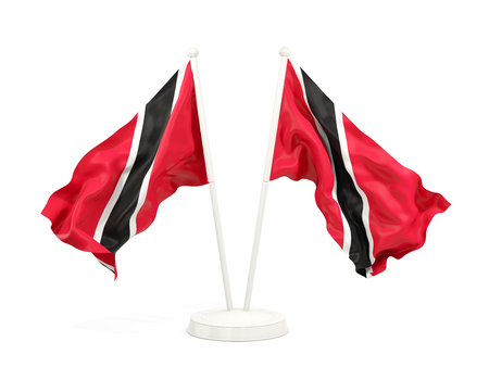 Two waving flags of trinidad and tobago isolated on white. 3D illustration