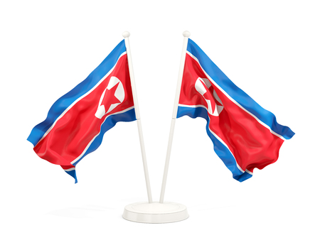 Two waving flags of north korea isolated on white. 3D illustration