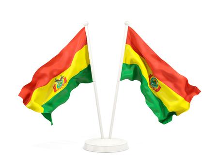 Dos banderas que agitan de Bolivia aislada en blanco. Ilustración 3D