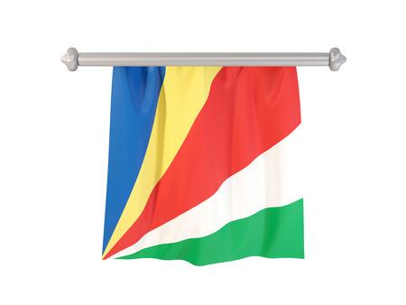 Wimpel met vlag van Seychellen op wit wordt geïsoleerd dat. 3D illustratie Stockfoto