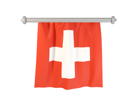 Pennant with flag of switzerland isolated on white. 3D illustration Stock Photo