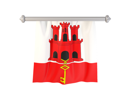 Pennant with flag of gibraltar isolated on white. 3D illustration Stock Photo
