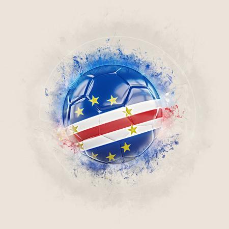 Grunge football with flag of cape verde. 3D illustration