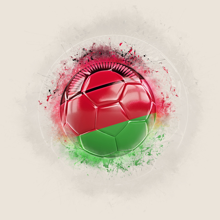 Grunge football with flag of malawi. 3D illustration Stock Photo