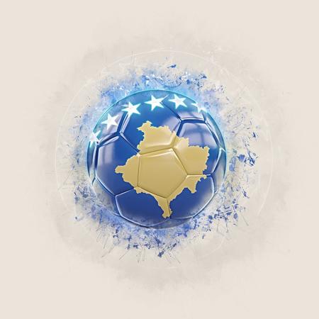 Grunge football with flag of kosovo. 3D illustration Stock Photo
