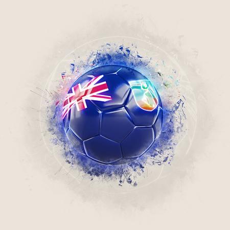 Grunge football with flag of montserrat. 3D illustration