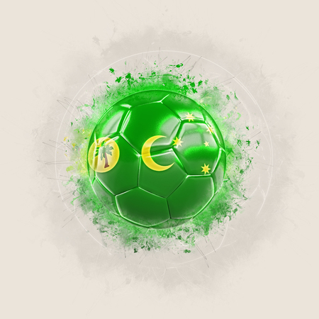 Grunge football with flag of cocos islands. 3D illustration Stock Photo