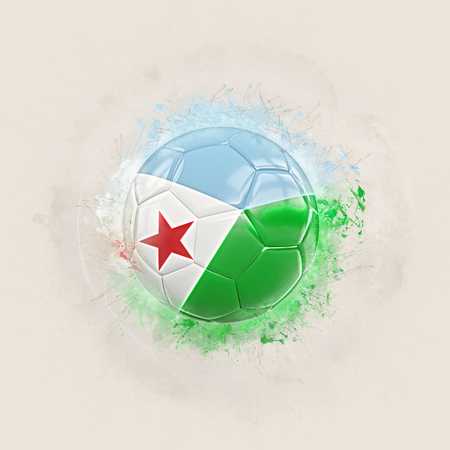 Grunge football with flag of djibouti. 3D illustration Stock Photo