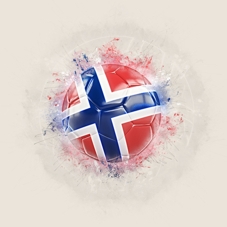 Grunge football with flag of norway. 3D illustration Stock Photo