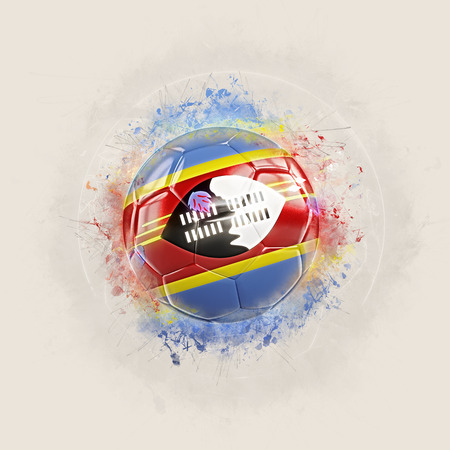 Grunge football with flag of swaziland. 3D illustration Stock Photo