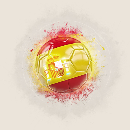 Grunge football with flag of spain. 3D illustration Stock Photo