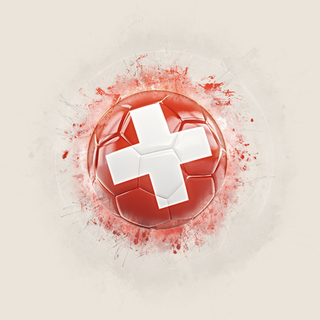 Grunge football with flag of switzerland. 3D illustration