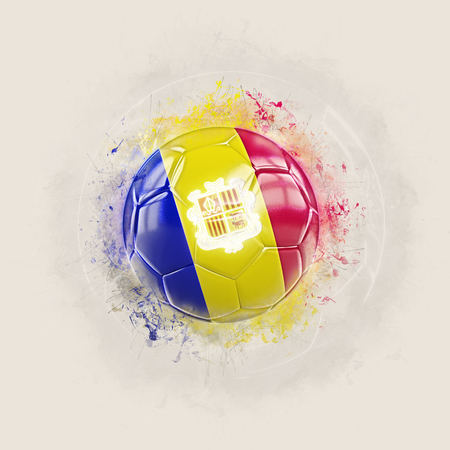 Grunge football with flag of andorra. 3D illustration Stock Photo