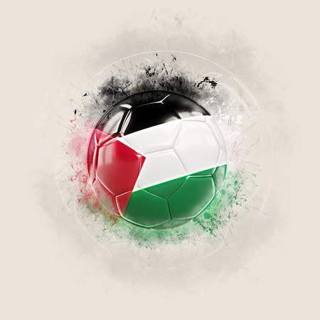 Grunge football with flag of palestinian territory. 3D illustration Stock Photo
