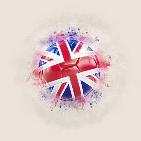 Grunge football with flag of united kingdom. 3D illustration