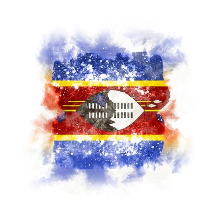 Square grunge flag of swaziland. 3D illustration