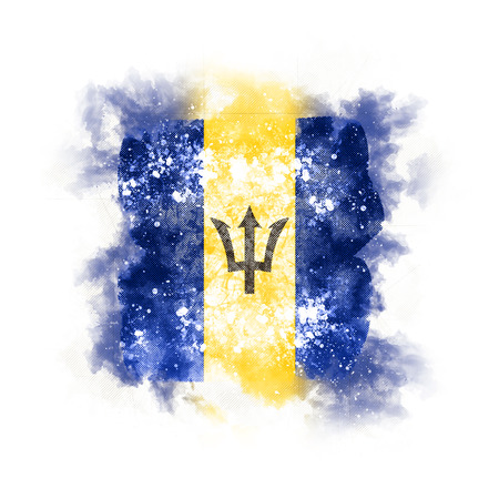Square grunge flag of barbados. 3D illustration