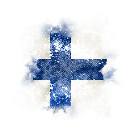 Quadratische Grunge Flagge von Finnland . 3D-Darstellung