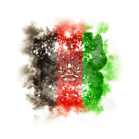 Square grunge flag of afghanistan. 3D illustration Stock Photo