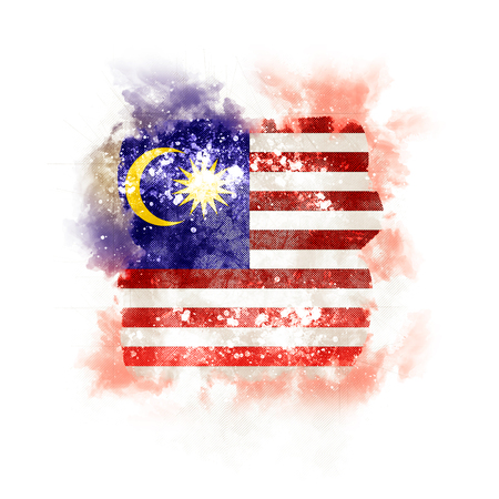 Square grunge flag of malaysia. 3D illustration