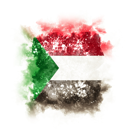 Square grunge flag of sudan. 3D illustration Stock Photo