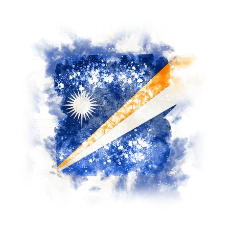 Square grunge flag of marshall islands. 3D illustration