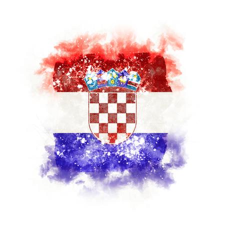 Square grunge flag of croatia. 3D illustration
