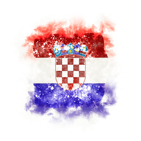 Square grunge flag of croatia. 3D illustration