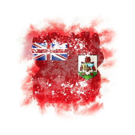 Square grunge flag of bermuda. 3D illustration