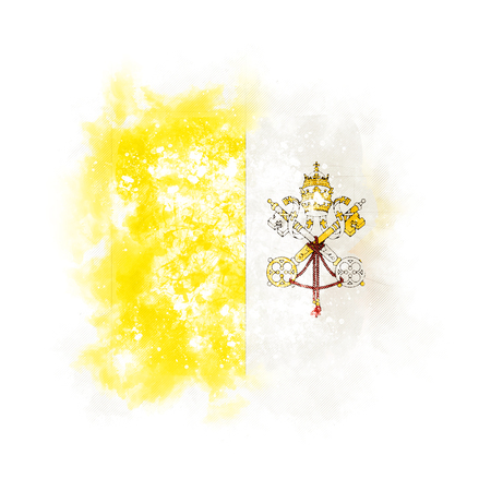 Square grunge flag of vatican city. 3D illustration Stockfoto