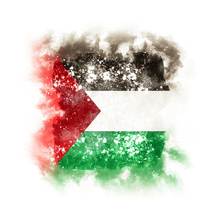 Square grunge flag of palestinian territory. 3D illustration