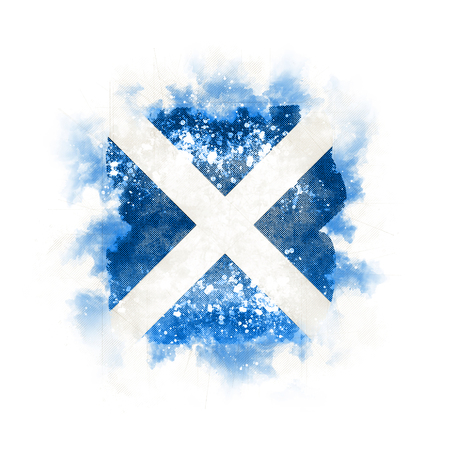 Square grunge flag of scotland. 3D illustration Banque d'images