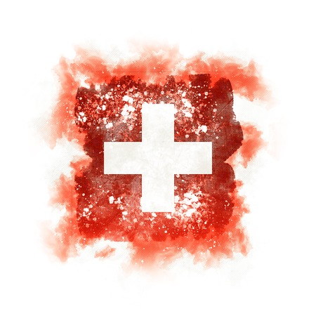 Square grunge flag of switzerland. 3D illustration