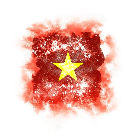 Square grunge flag of vietnam. 3D illustration Stock Photo