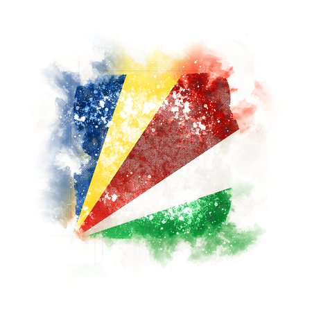 Square grunge flag of seychelles. 3D illustration Фото со стока