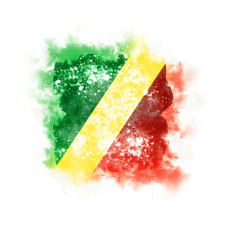 Square grunge flag of republic of the congo. 3D illustration